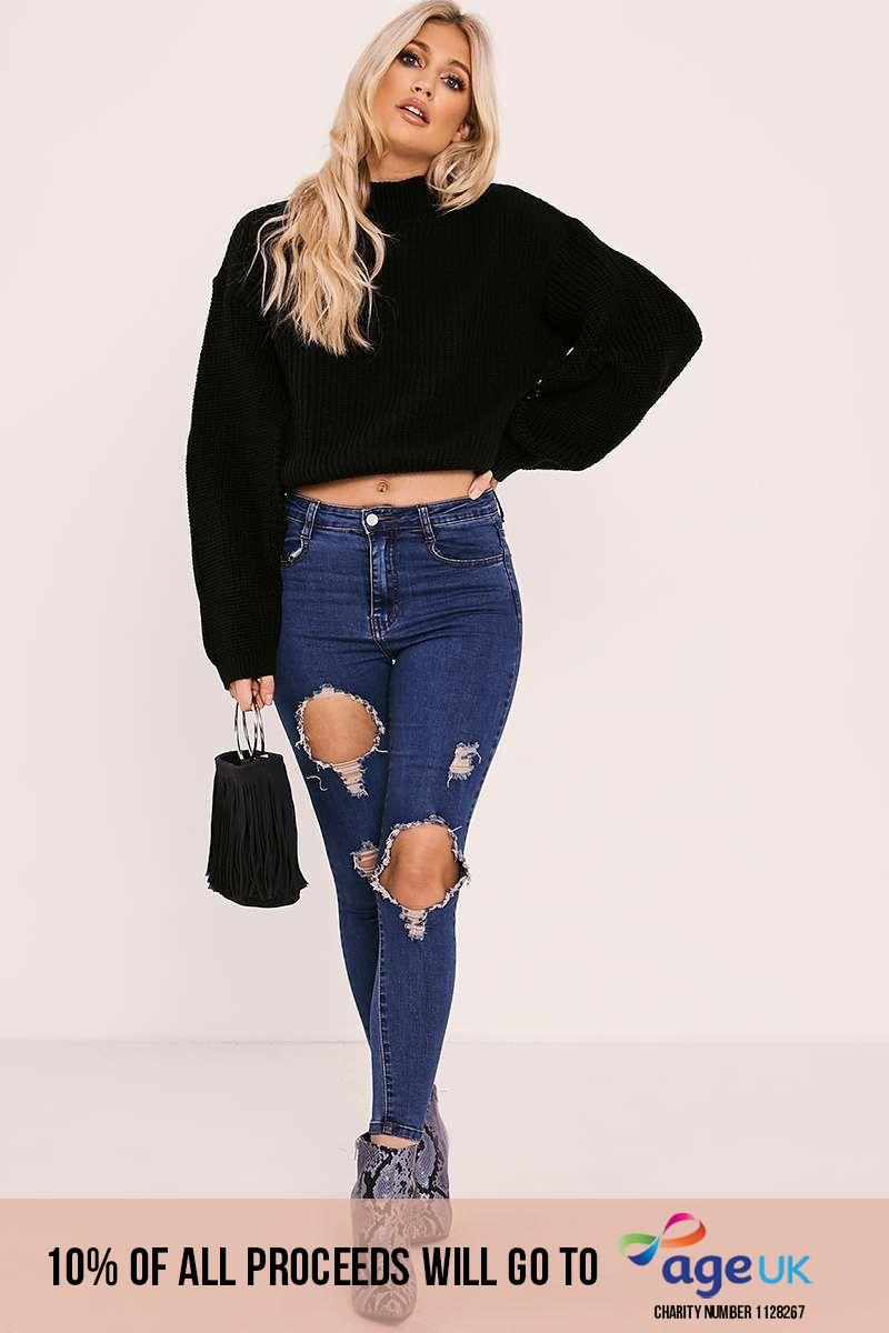 black high neck split sleeve knitted jumper