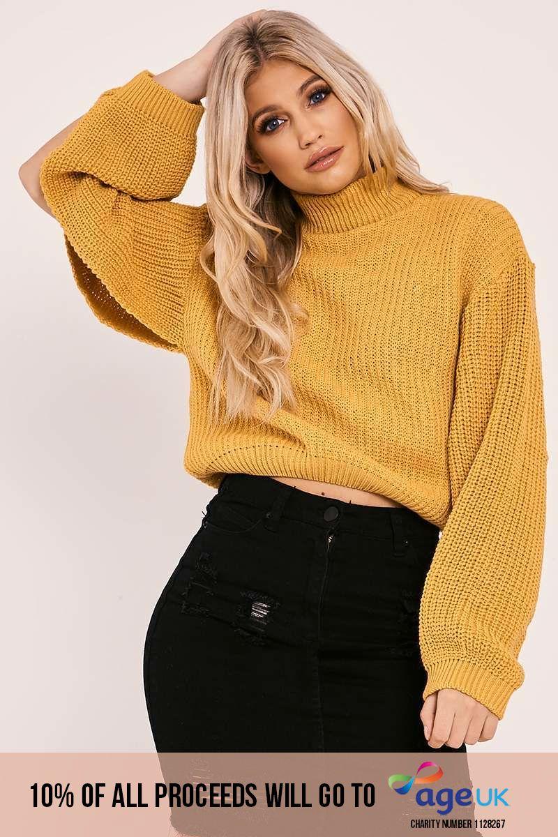 mustard high neck split sleeve knitted jumper