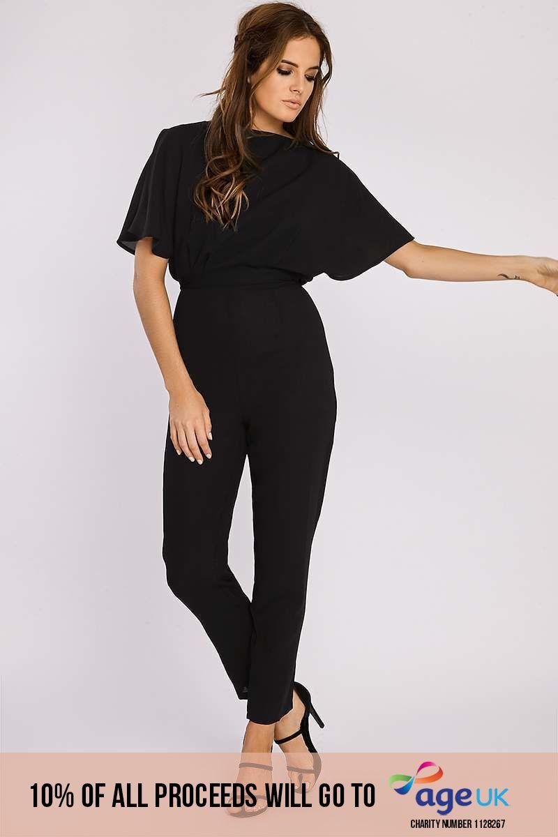Binky Black Split Flare Sleeve Tailored Jumpsuit