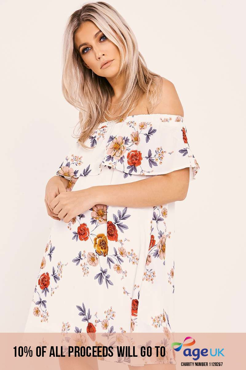 JULI WHITE FLORAL BARDOT FRILL DRESS