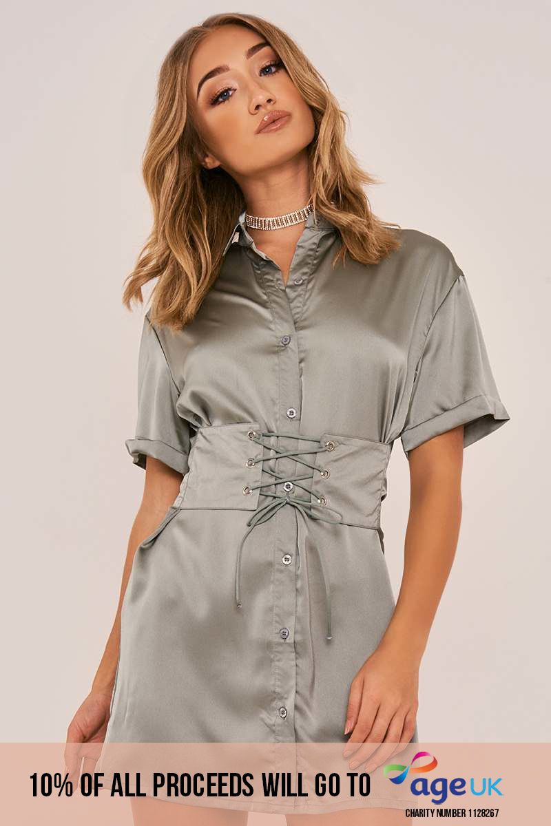 green corset lace up silky shirt dress
