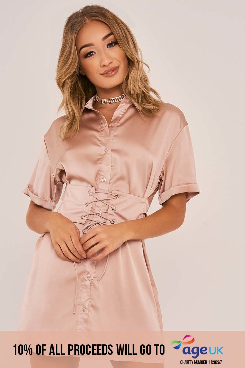 nude corset lace up silky shirt dress