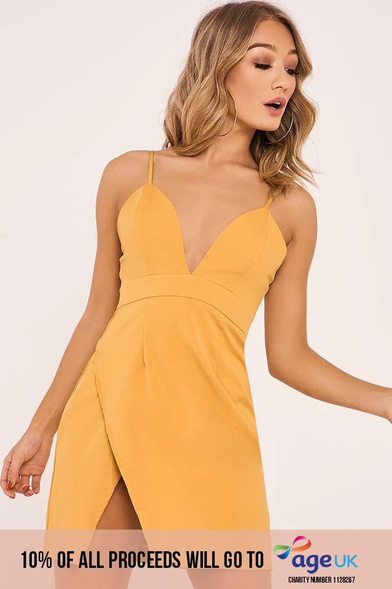 mustard strappy plunge split side dress