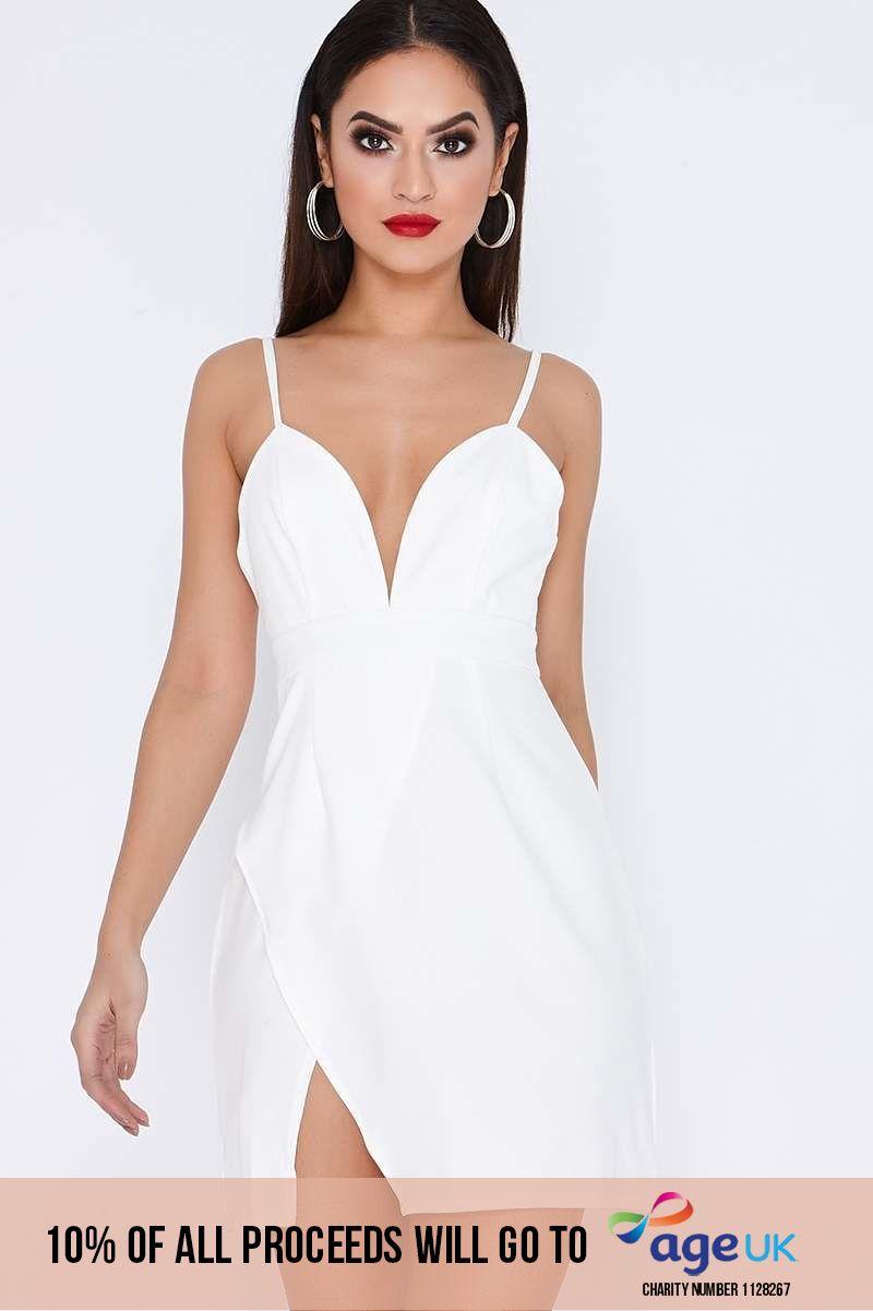 white strappy plunge split side dress