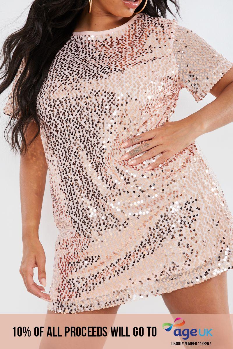 CURVE MADELINE ROSE GOLD SEQUIN T SHIRT DRESS