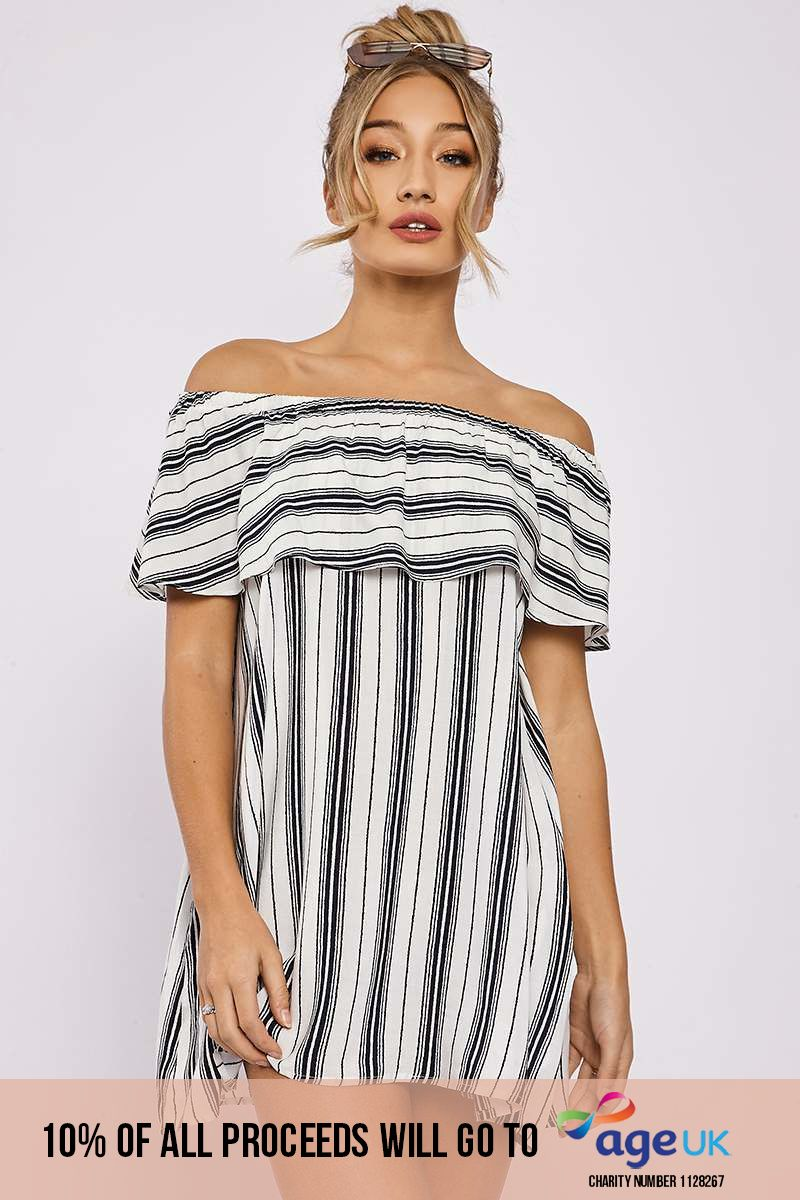 navy striped bardot frill dress