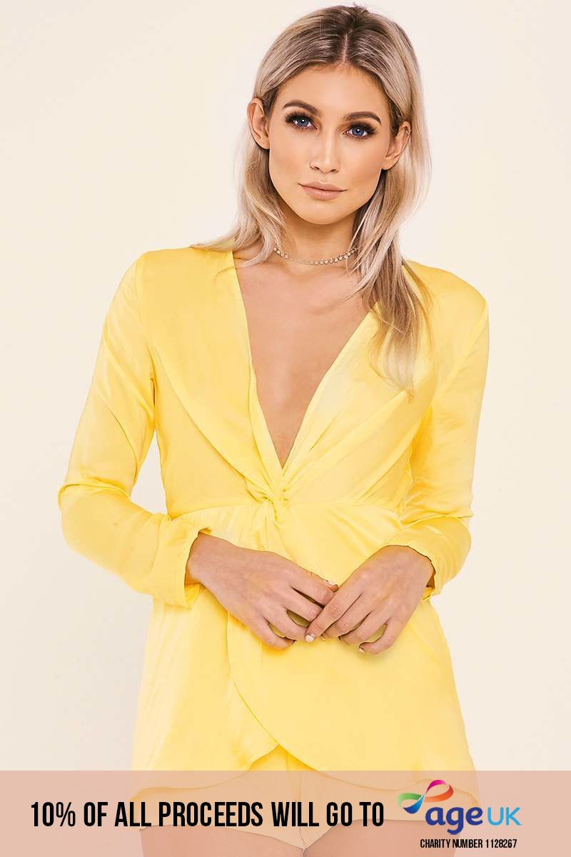 yellow twist front plunge playsuit