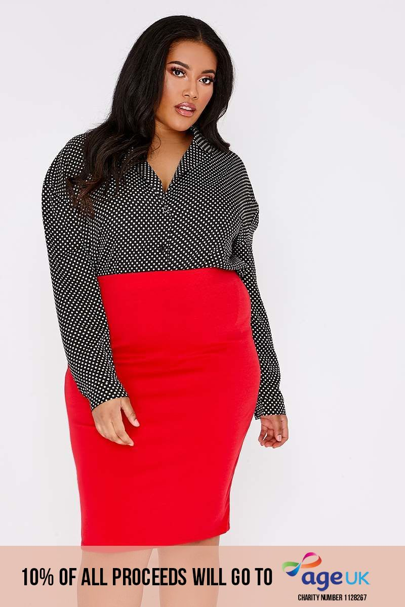 CURVE BUFFY RED MIDI SKIRT