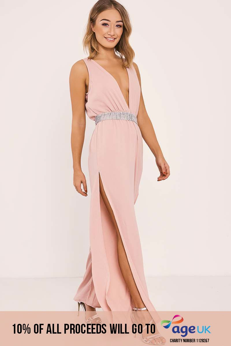 RIHANA NUDE SIDE SPLIT PLUNGE JUMPSUIT