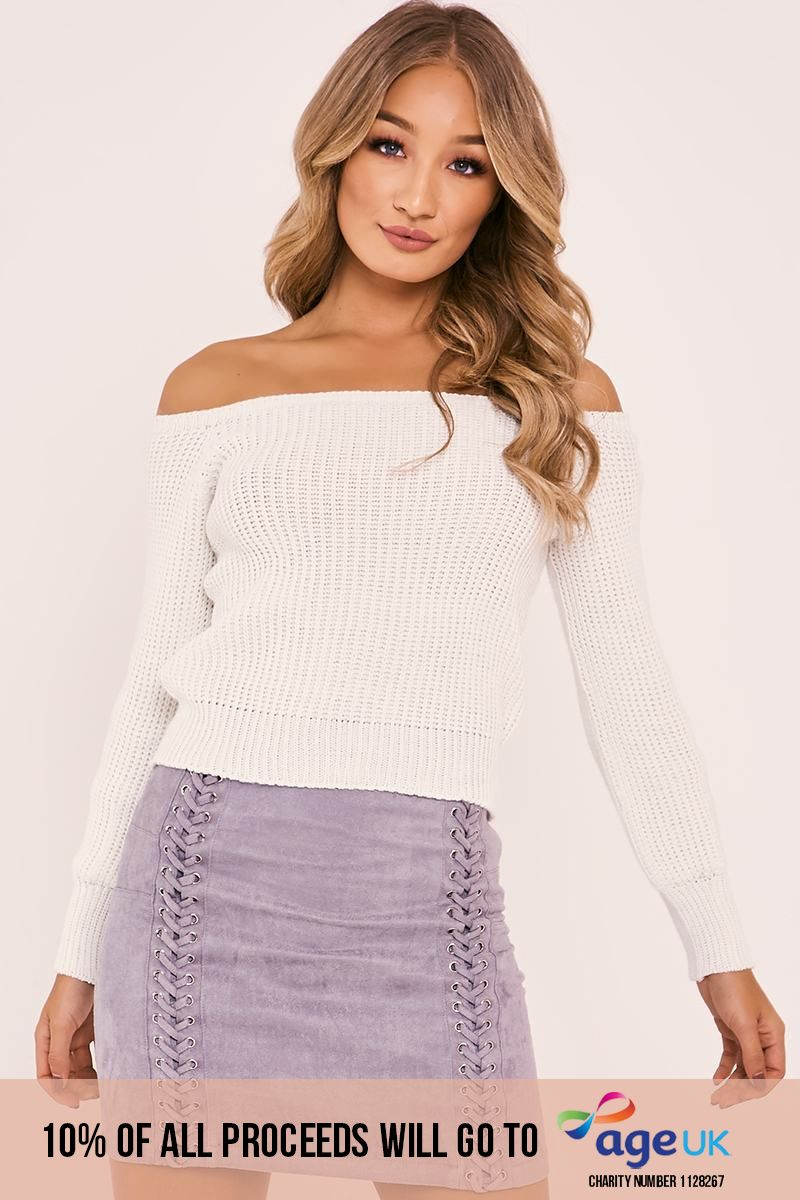 cream bardot jumper