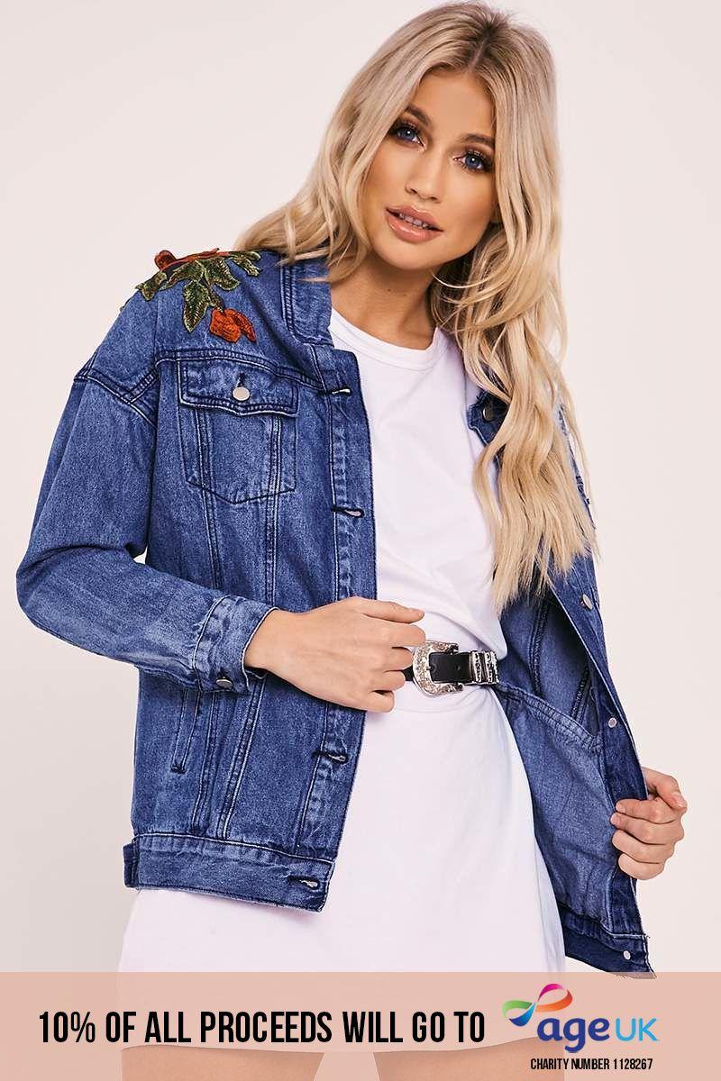 mid wash floral applique denim jacket