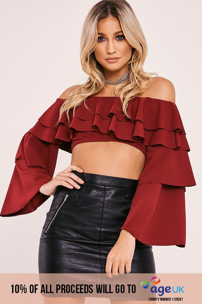 burgundy tiered frill bardot crop top