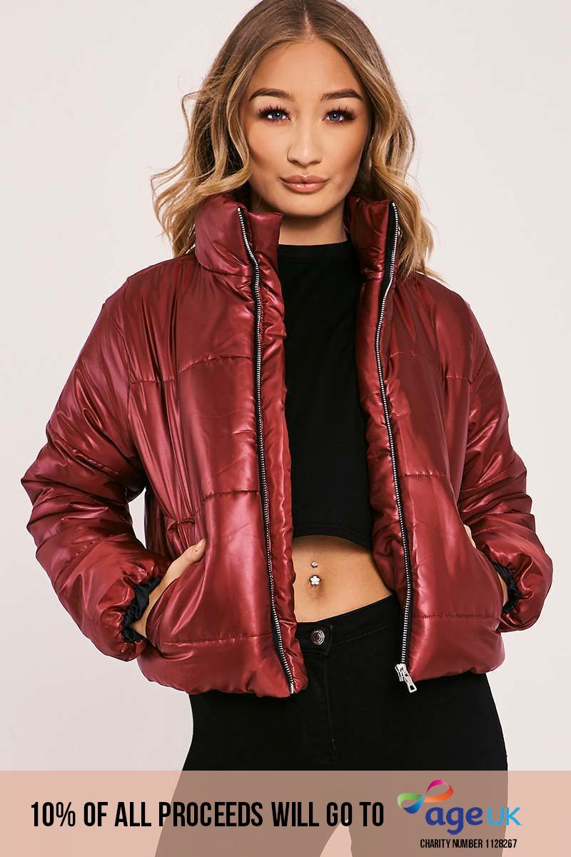 burgundy cropped padded puffer coat
