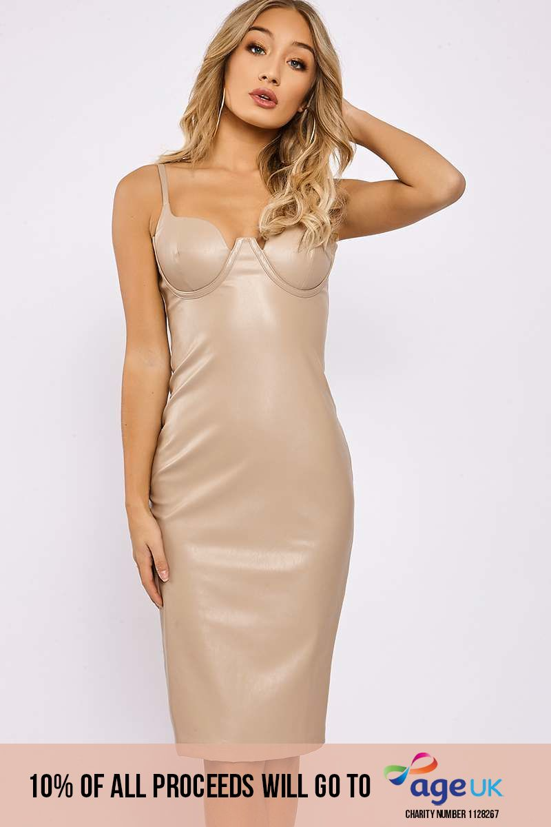nude faux leather cupped bodycon midi dress