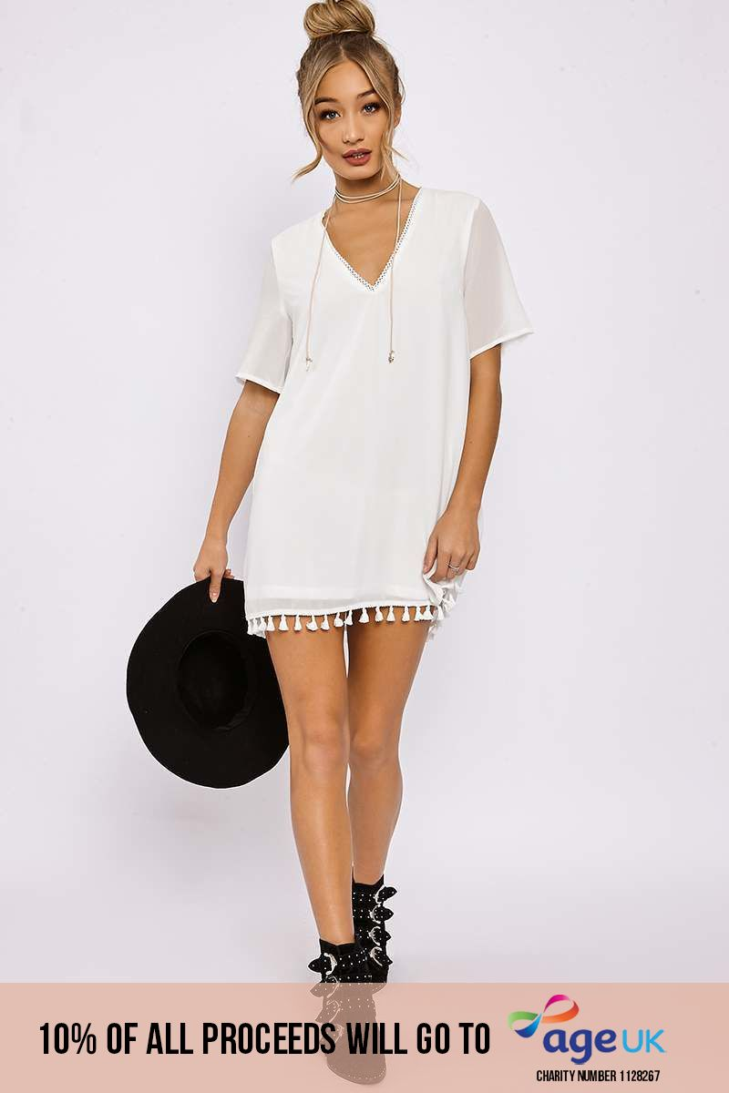white tassle trim shift dress