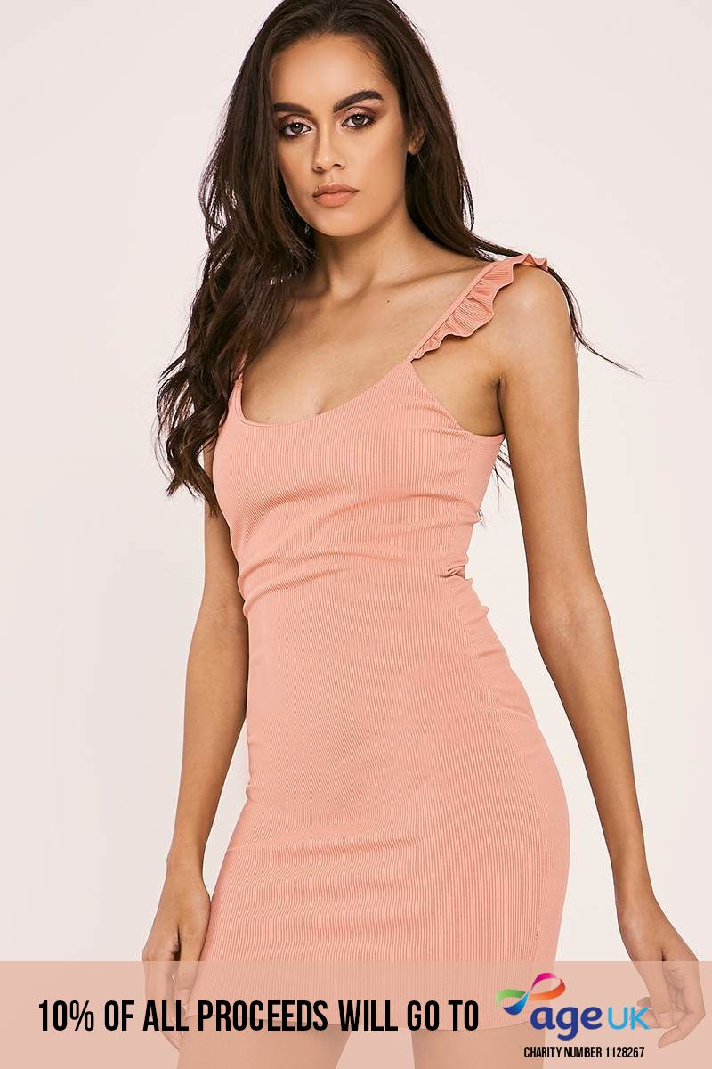 rose frill strap ribbed bodycon dress