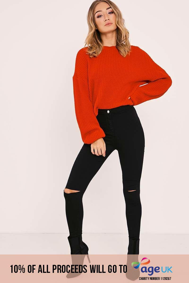 black high waisted rip knee jeans