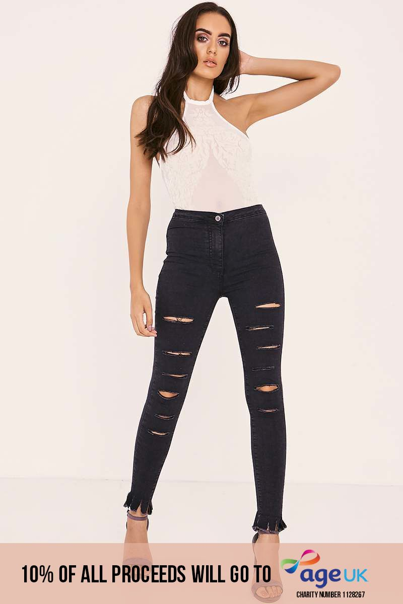 washed black multi rip high waisted skinny jeans