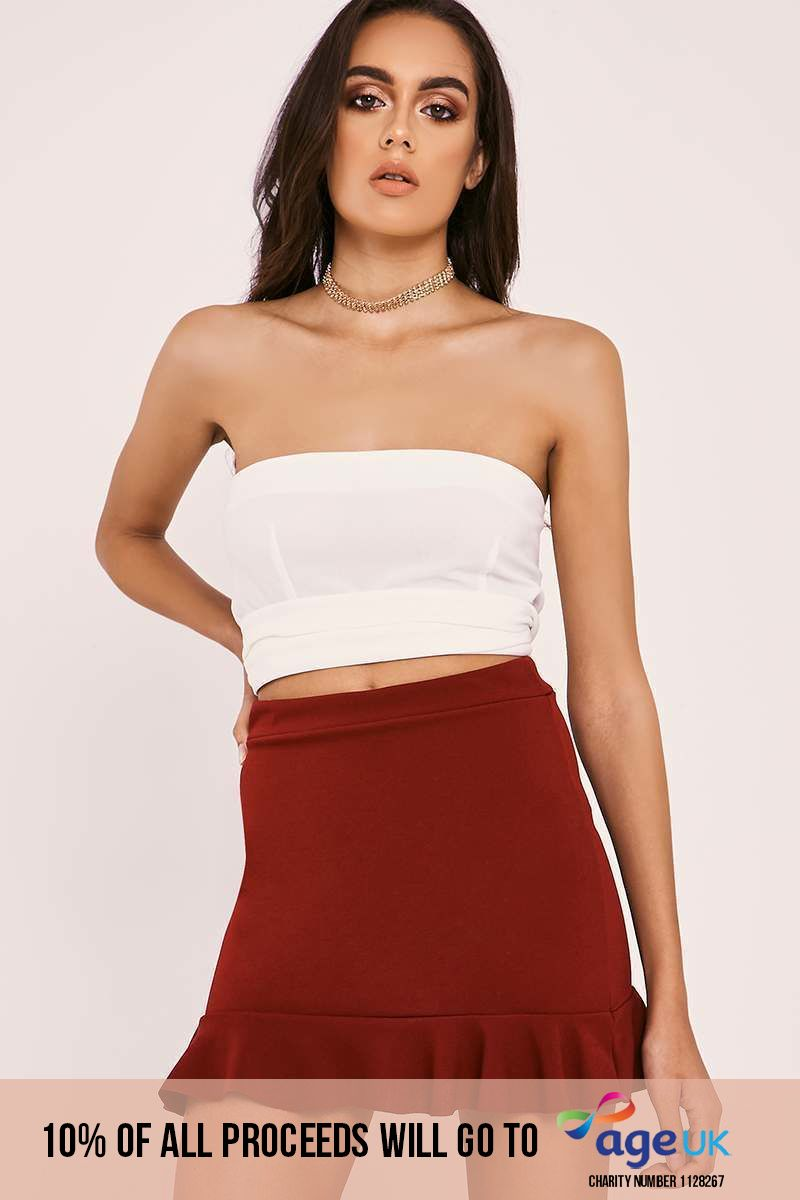 burgundy frill hem mini skirt