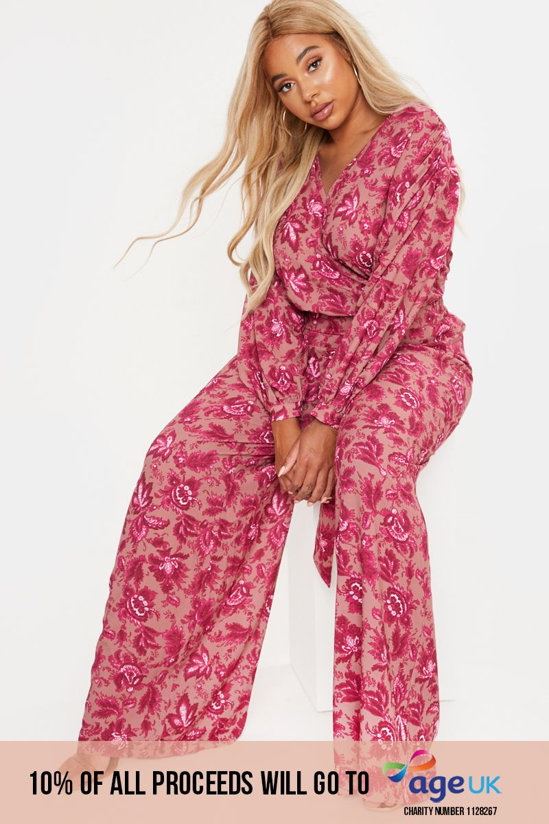 CURVE PINK FLORAL WIDE LEG TROUSERS