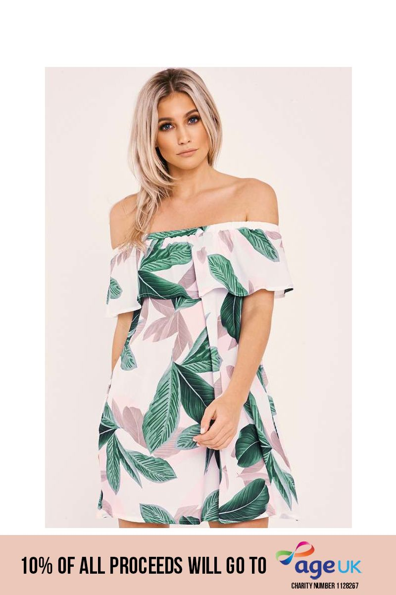 white leaf print bardot frill dress