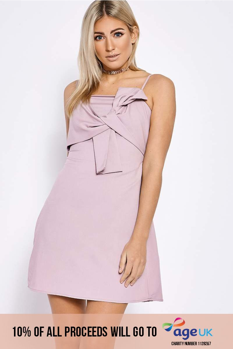 BELLAROSE MAUVE BOW FRONT CAMI DRESS