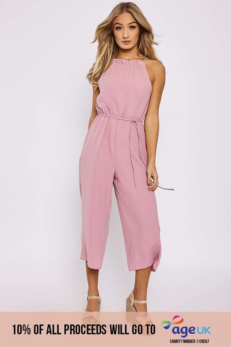mauve gathered high neck culotte jumpsuit