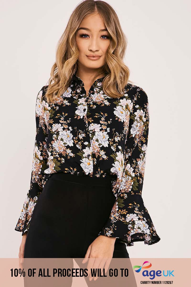 NIALA BLACK FLORAL FLARED SLEEVE CROPPED SHIRT