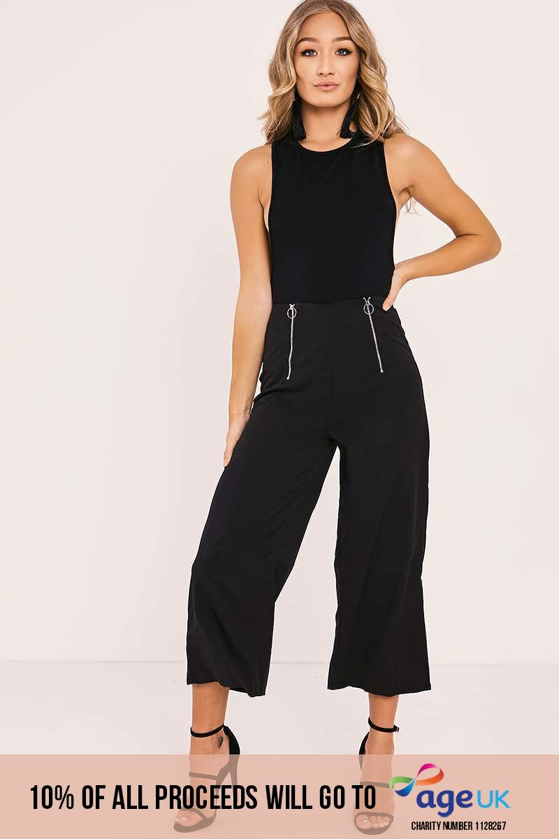 black zip detail culotte trousers