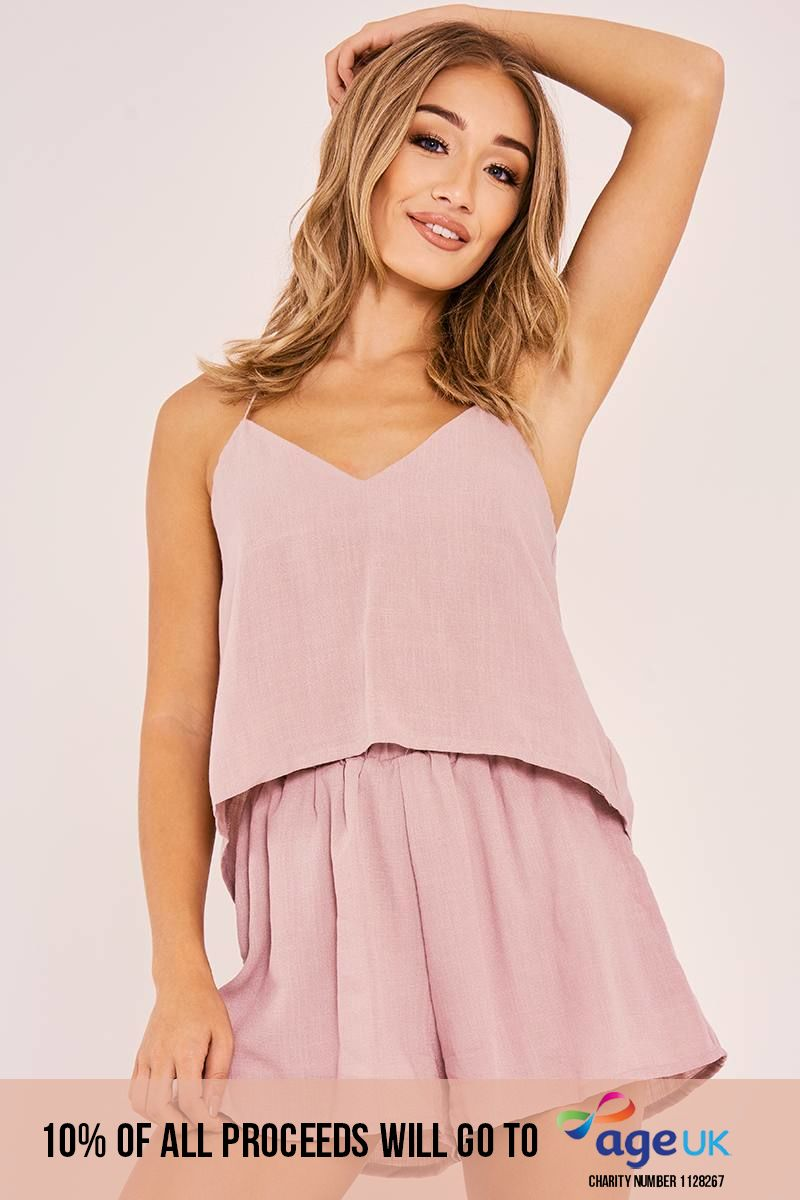 mauve tie back top and shorts co ord