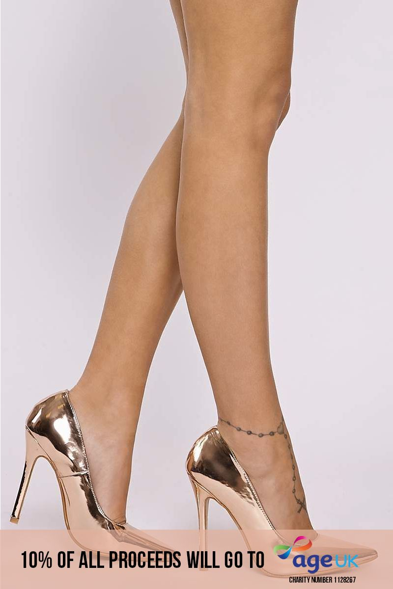 rose gold faux leather court shoes