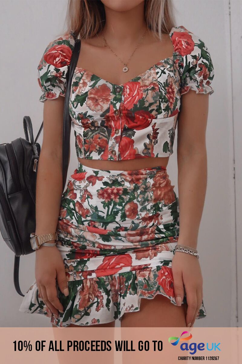 FASHION INFLUX WHITE FLORAL RUCHED FRILL MINI SKIRT