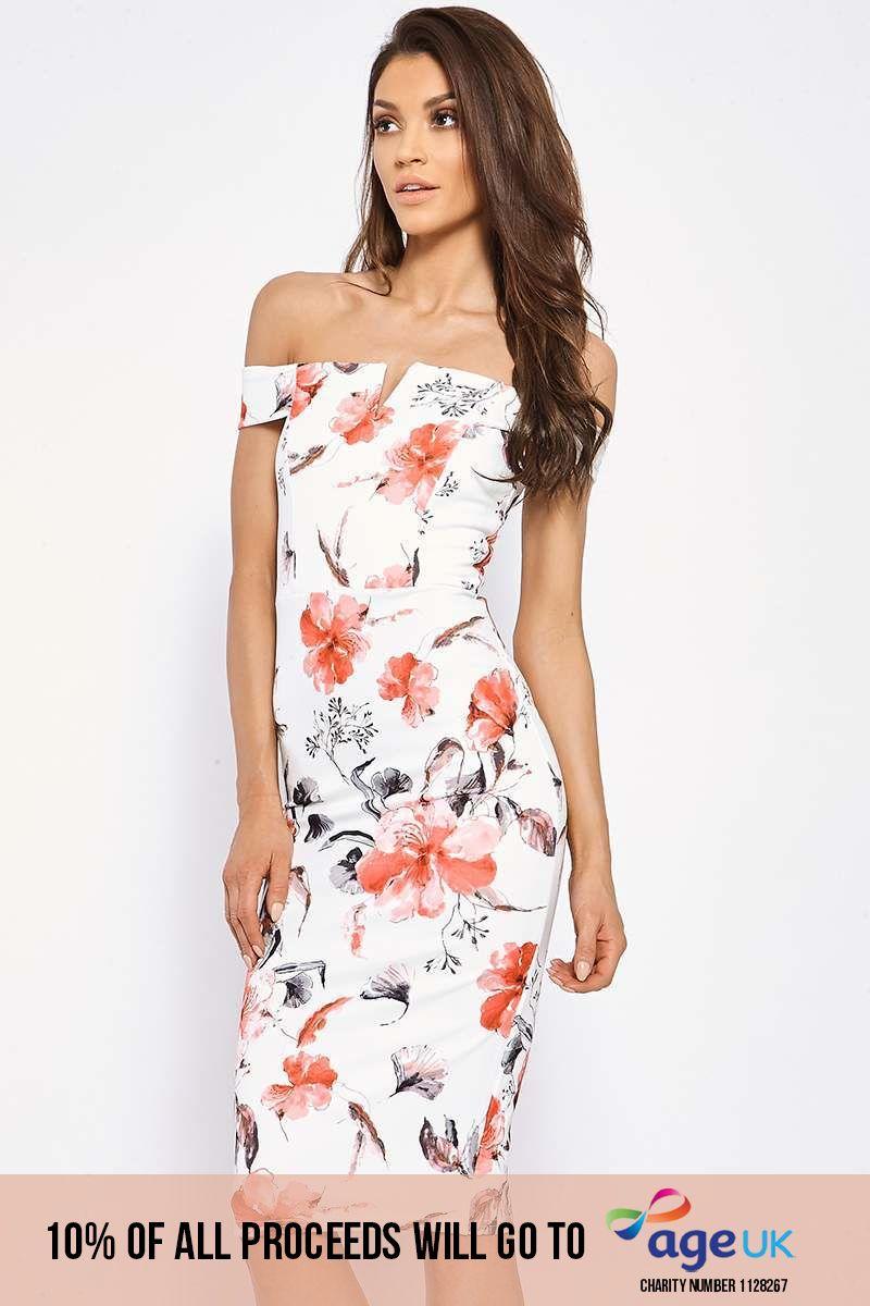 cream floral bardot bodycon dress