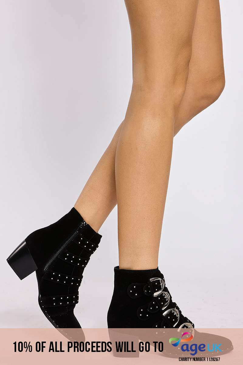 black multibuckle studded faux suede ankle boots