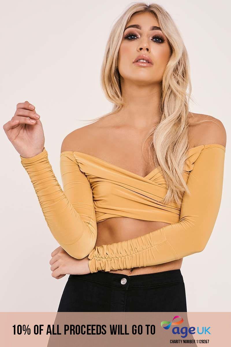 mustard slinky bardot wrap top