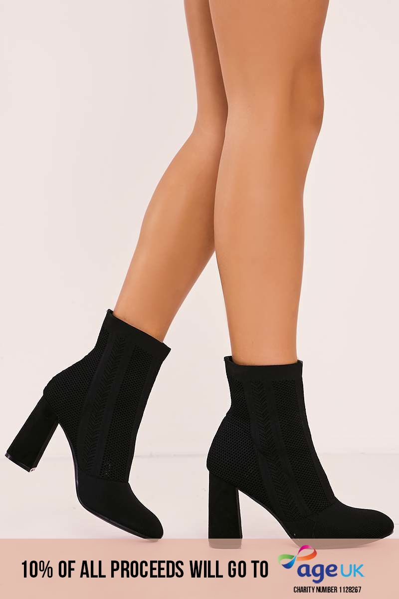 black knitted block heel boots