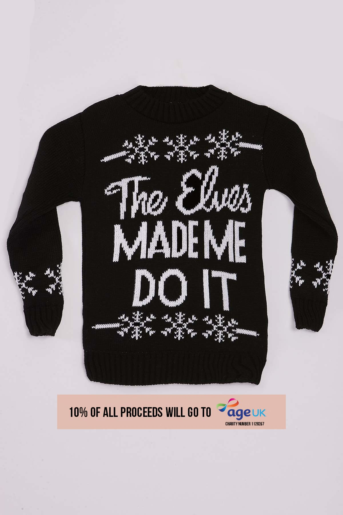 Nelly Monochrome The Elves Made Me Do It Childrens Christmas Jumper