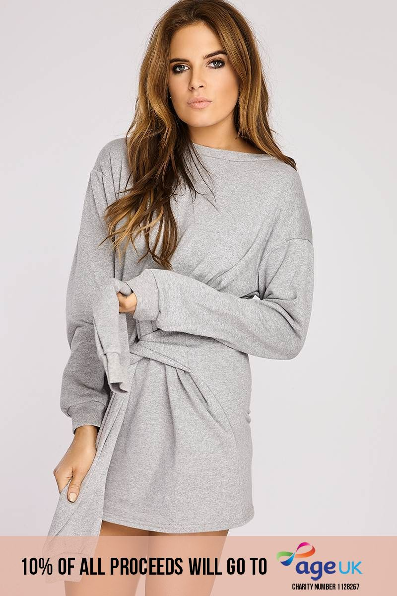Binky Grey Tie Front Sweater Dress
