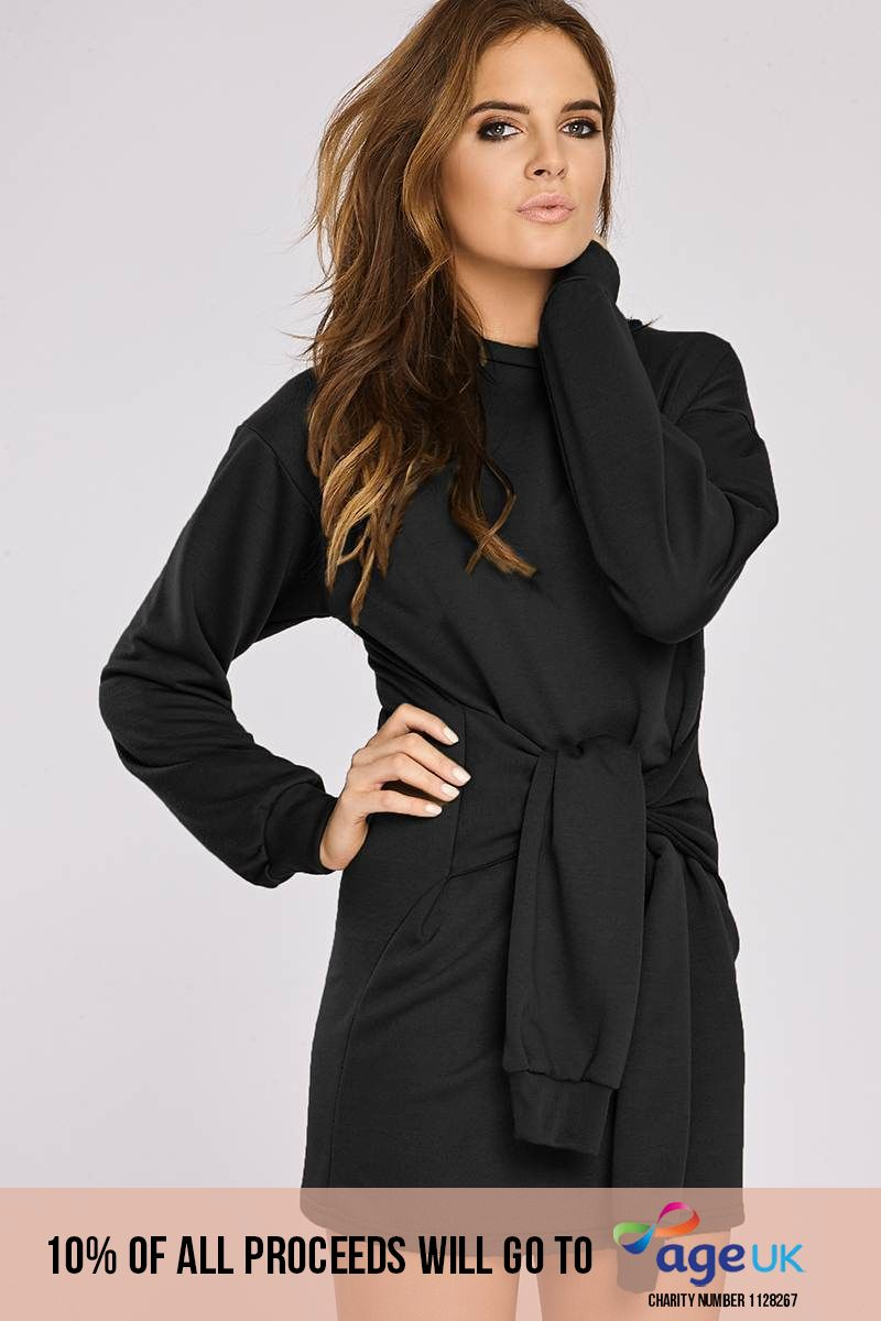 Binky Black Tie Front Sweater Dress