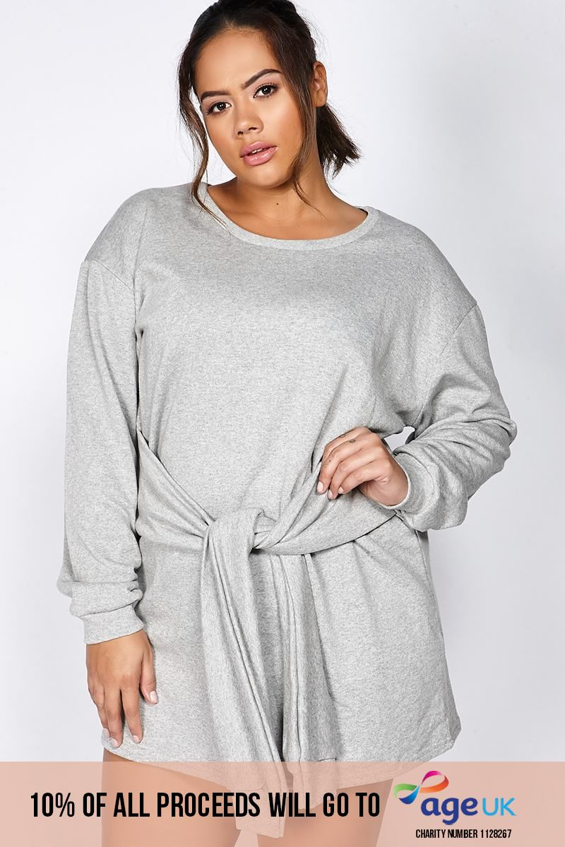 Curve Binky Grey Tie Front Sweater Dress