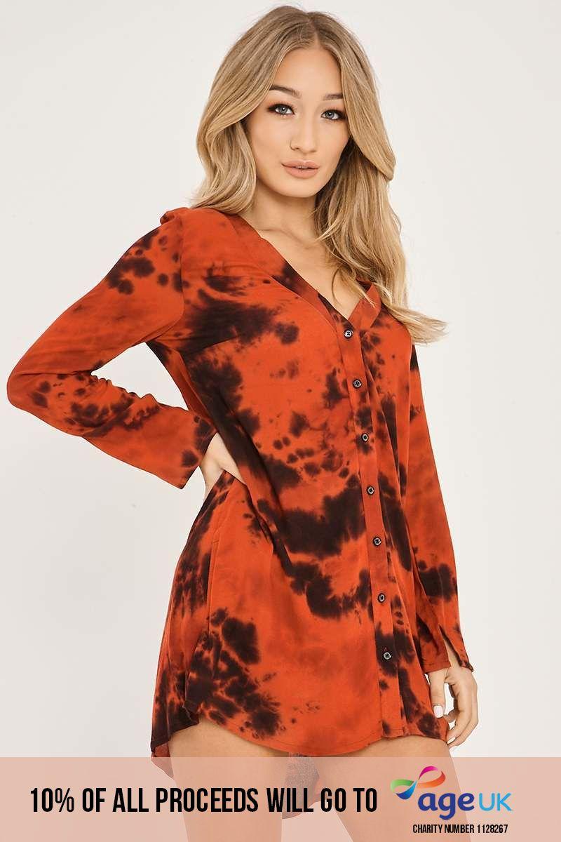 CHARLOTTE CROSBY RED OVERSIZED TIE DIE SHIRT DRESS