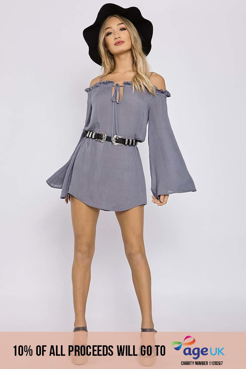 CHARLOTTE CROSBY BLUE RUFFLE FLARED SLEEVE BARDOT DRESS