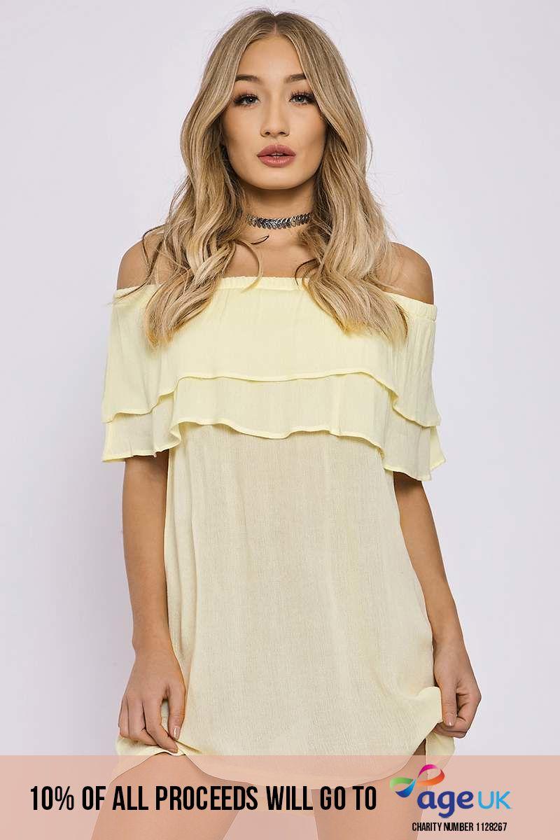 CHARLOTTE CROSBY YELLOW DOUBLE LAYER BARDOT DRESS