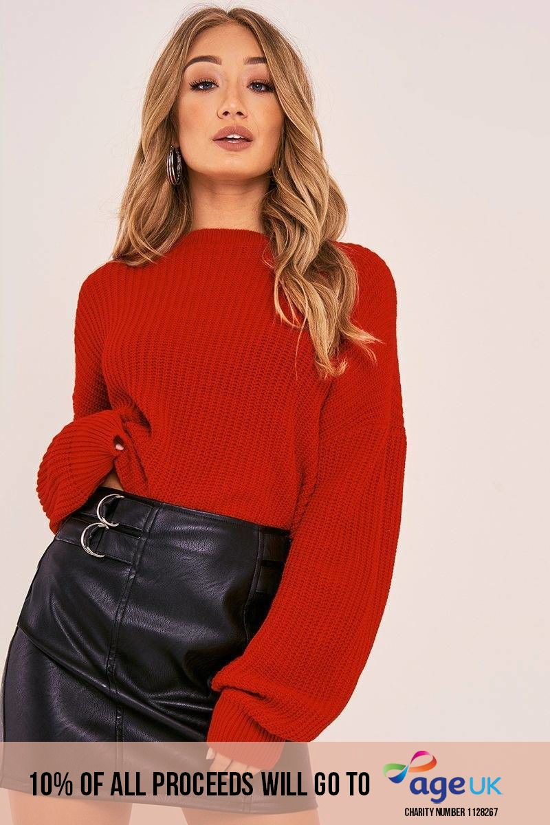 CHARLOTTE CROSBY RED OVERSIZED BALLOON KNIT JUMPER