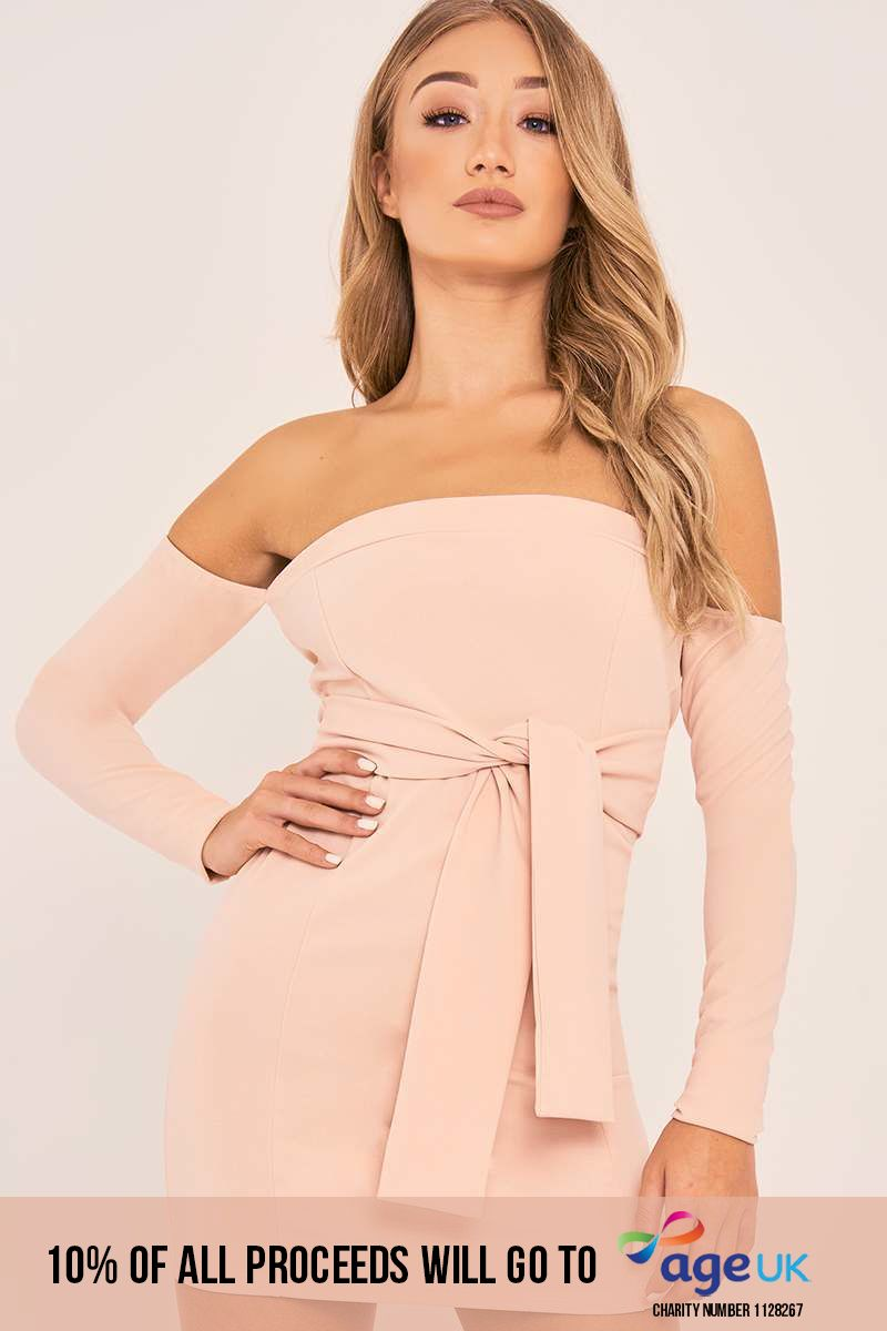 CHARLOTTE CROSBY NUDE BARDOT TIE FRONT LONG SLEEVE DRESS