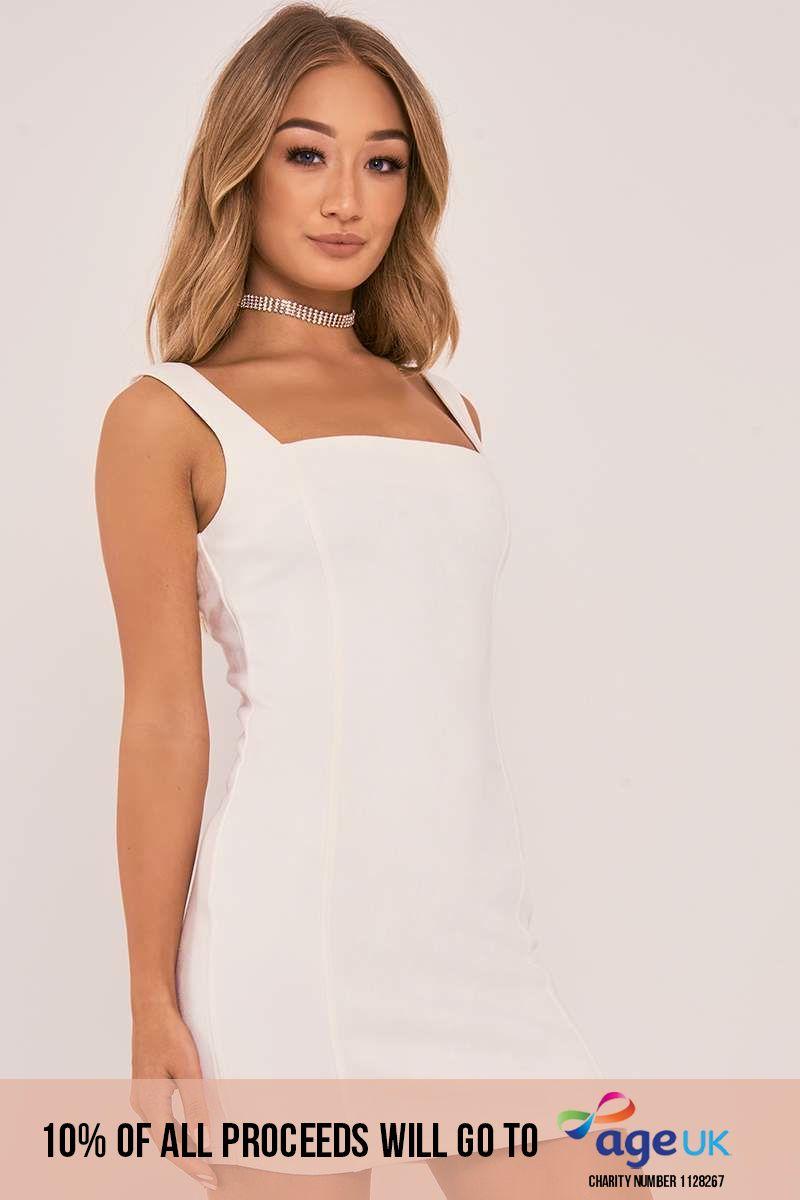 CHARLOTTE CROSBY IVORY FAUX SUEDE BODYCON DRESS