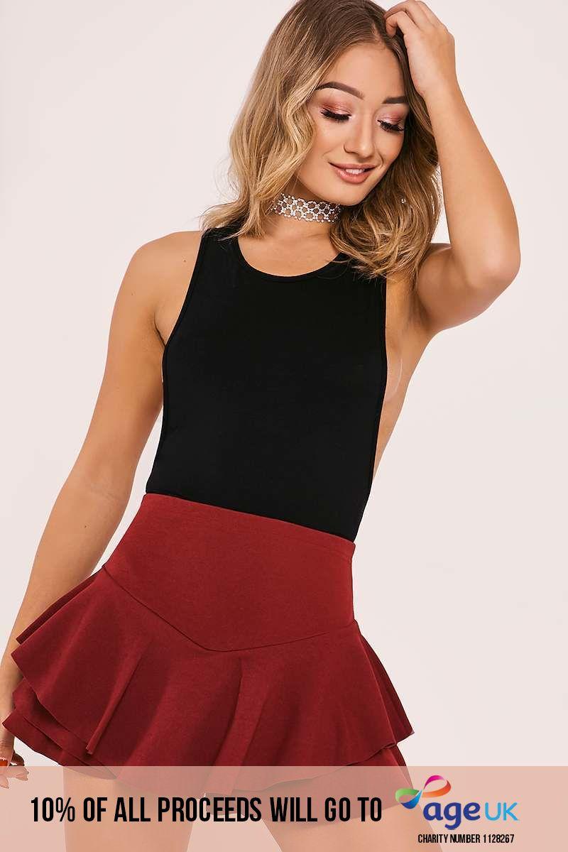 burgundy high waisted frill overlay shorts