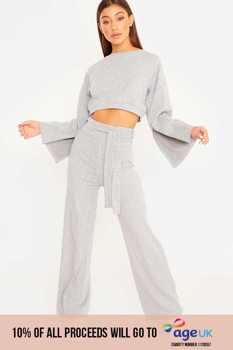 grey flared sleeve crop top loungewear set