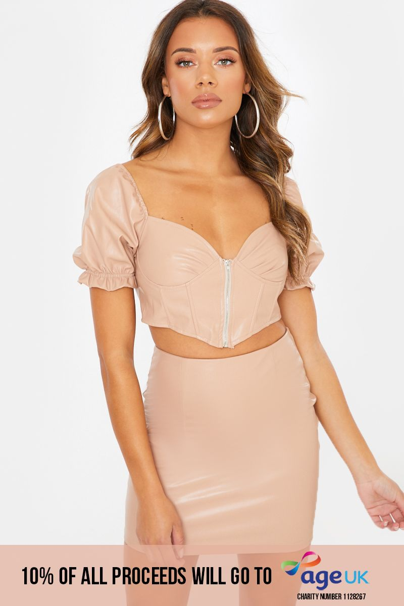 MADELLA CAMEL FAUX LEATHER ZIP THROUGH CROP TOP AND MINI SKIRT CO ORD