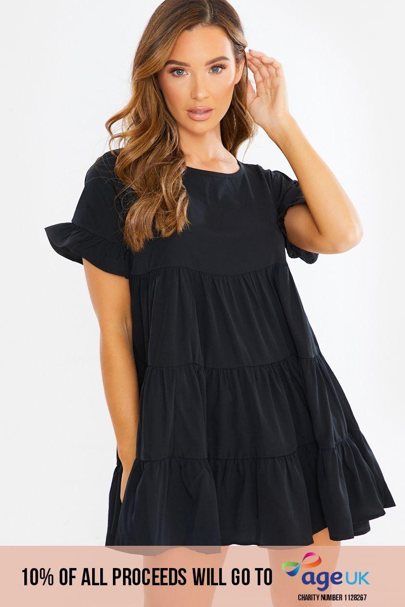 black frill layered smock dress